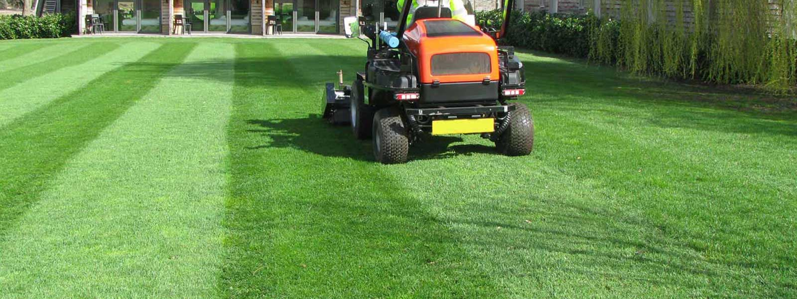 Ride on mower on a well looked after grounds or a large house